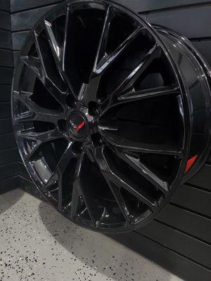 Gloss black 19x8.5 et56 and 20x10 et79 Corvette Z06 style wheels fits stingray c6 c7 base rims wheels tires for Sale in Tempe, AZ