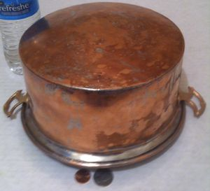 "Vintage Metal Copper and Brass Pot, 9"" x 4"" and 11"" Handle to Handle, Kitchen Decor, Hanging Display, Shelf Display for Sale in Lakeside, CA"