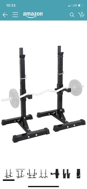 "F2C Max Load 550Lbs Pair of Adjustable 41""-66"" Rack Sturdy Steel Squat Barbell Free Bench Press Stands Gym/Home Gym Portable Dumbbell Racks Stands (o for Sale in Phoenix, AZ"