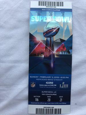 Super bowl 53 ticket stub Rams vs Patriots for Sale in Rockville, MD