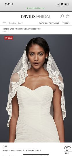 Corded lace fingertip veil with sequins for Sale in CT,  US