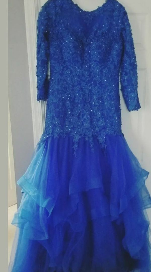 Blue size 16 xl ball gown wedding formal dress with train
