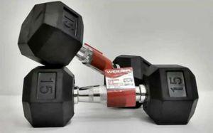Set Of 2 - Weider 15 LB Dumbbell Rubber Hex Dumbbells Weights 30lb Total CAP. for Sale in Fort Rucker, AL