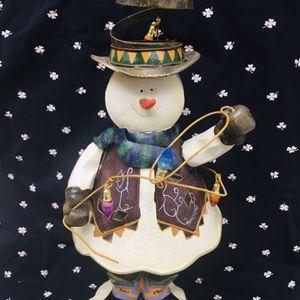 Vintage Big Tin (12) hight ⛄️ Snowman Lantern Snowman 🕯 candle holder Christmas Figurine! for Sale in Carmichael, CA