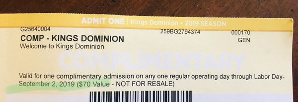 ** 4 KINGS DOMINION Tickets
