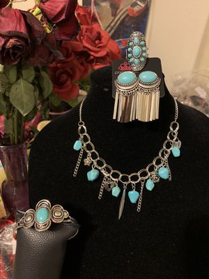 New 4pc set color silver with blue turquoise stones for Sale in Orange, CA