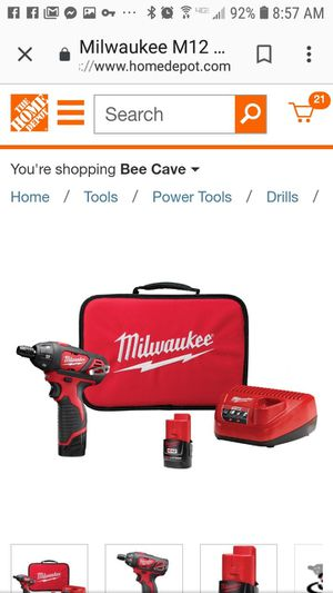 Brand new in box. Milwaukee M12 12-Volt Lithium-Ion Cordless 1/4 in. Hex Screwdriver Kit with Two 1.5Ah Batteries, Charger and Tool Bag for Sale in Austin, TX
