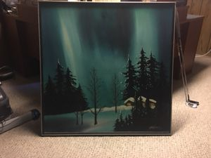 Canvas log cabin snow painting for Sale, used for sale  Fairless Hills, PA