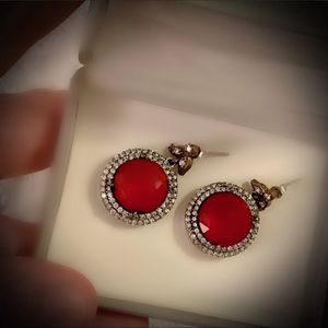 PIGEON BLOOD RED RUBY FINE ART DANGLE POST EARRINGS Solid 925 Sterling Silver/Gold WOW! Brilliantly Faceted Round Cut Gems, Diamond Topaz K7412 VS for Sale in San Diego, CA