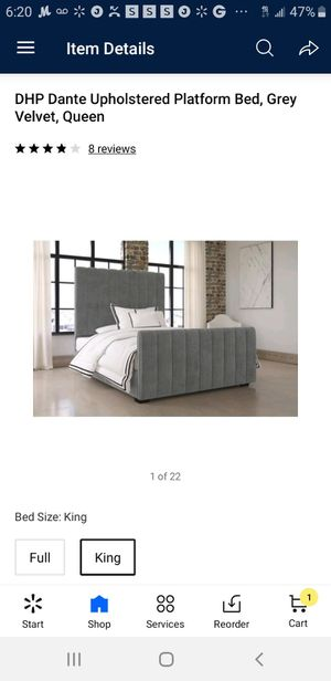 Gray Upholstery Queen Bed Frame for Sale in Newark, NJ