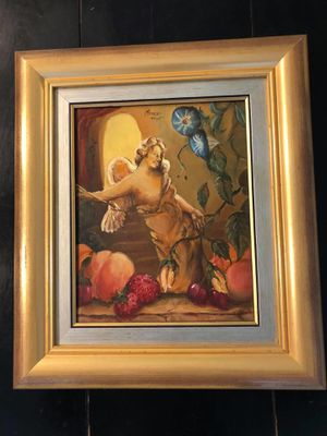 """Fabulous Vintage Oil Painting Picture On Canvas Signed """"Amor 1995"""" Gold Frame for Sale in Lake Worth, FL"""