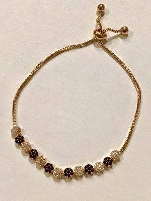 Crystal Bolo Slider Bracelet Clusters of Black and Clear Crystals in Gold Plate- Adjustable Length * Pickup Boca Raton Or Ship Nationwide for Sale in Boca Raton, FL