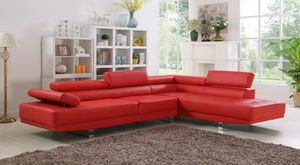 Red chrome modern right chaise sectional sofa for Sale in Hollywood, FL