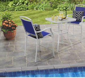 New!! Patio set, 3 pc patio set, outdoor conversation set, chat set, patio furniture , blue and white for Sale in Phoenix, AZ