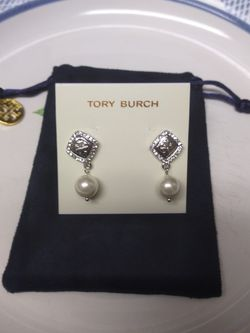 Tory Burch Silver Pearl Pendant Earrings for Sale in Alexandria,  VA