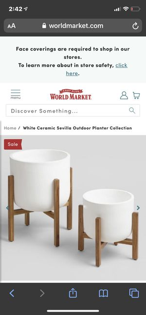 Large Ceramic white pot brand new with wooden stand for Sale in San Luis Obispo, CA