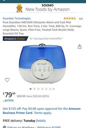 Pure Garden 2.0 gallon ultrasonic humidifier for Sale in Wildomar, CA