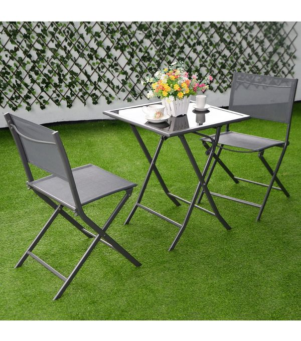 NEW (3 Piece) Contemporary Outdoor Bistro Set - Patio Home Folding Chairs & Top Glass Table - Stackable Seat Garden Pool Poolside Furniture - ↓READ↓