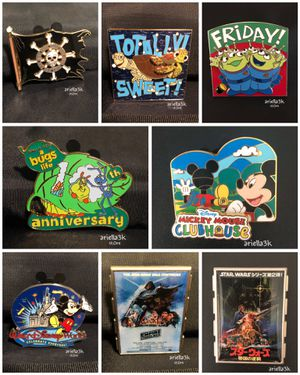 (19) Disney Parks Pins + (7) Universal Studios Pins + Mickey Mouse Bag Authentics! for Sale in Kissimmee, FL