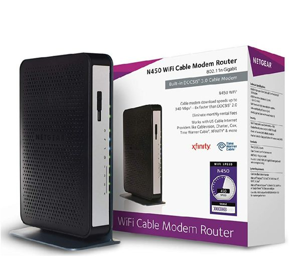 New NETGEAR N450-100NAS (8x4) WiFi DOCSIS 3.0 Cable Modem Router (N450) Certified for Xfinity from Comcast, Spectrum, Cox, Cablevision & More - 70$