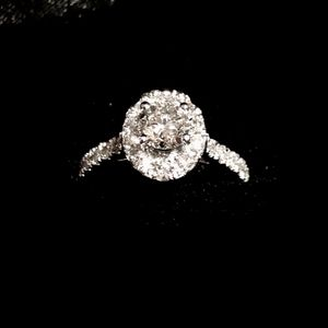 Natural 1.7 ctw Diamond Solitaire Halo Ring - 14K White Gold for Sale in Stevenson Ranch, CA
