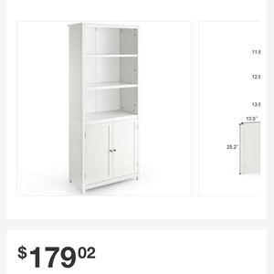 72 in. White Wood 5-shelf Standard Bookcase with Doors for Sale in Houston, TX