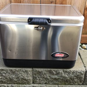 Coleman 54 Quart Steel Belted Cooler - Stainless Steel for Sale in Lynnwood, WA