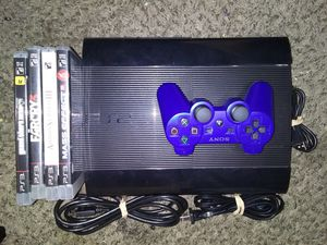 PS3 Super Slim Complete 500GB 4 Games for Sale in Reedley, CA