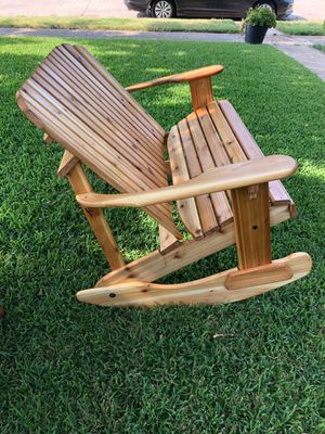 Rocking chair/bench love seat - all cedar - outdoor furniture for Sale in Richardson, TX