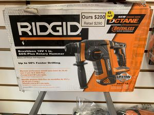 """New Ridgid 18v 1"""" Sds Plus Rotary Hammer. Tool Only for Sale in Newton, MA"""