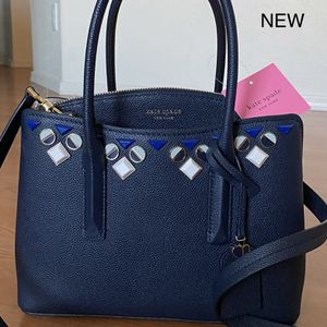 Authentic KATE SPADE Navy Blue Medium Leather Satchel, Brand New with Tags, MSRP $358, Kate Spade purse, bag for Sale in Surprise, AZ