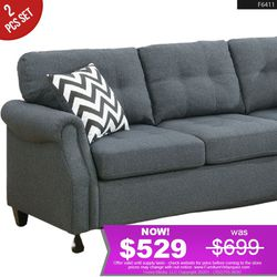 **SAVER** 2Pcs Grey Linen Sofa Set Love Seat + Sofa F6594 for Sale in Long Beach,  CA