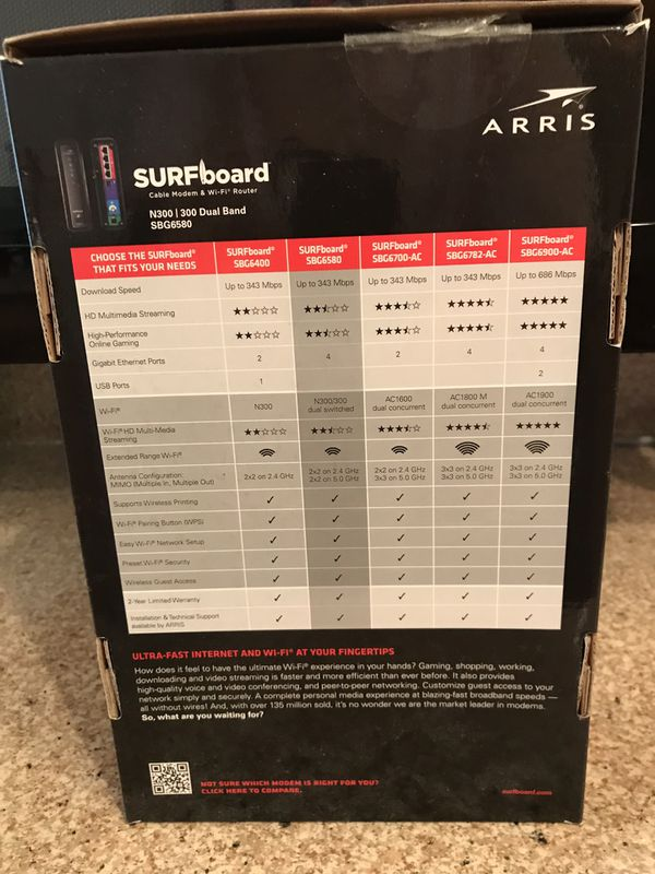 Arris Surfboard Model SBG6580 Cable Modem & Wi-Fi Router