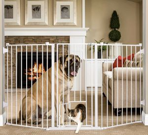 """Carlson Extra-Tall Flexi Pet Gate with small pet door 76""""wide and 38""""high for Sale in Las Vegas, NV"""