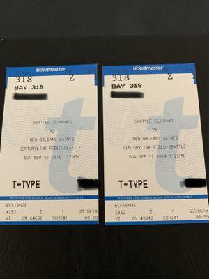 Seahawks vs Saints 9/22 $200.00 for Sale in Tacoma, WA