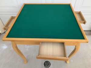 Heavy Duty Real Wood Ma Jiong Table | Poker Table with 4 -Drawers and Drinks Holder for Sale in Monterey Park, CA