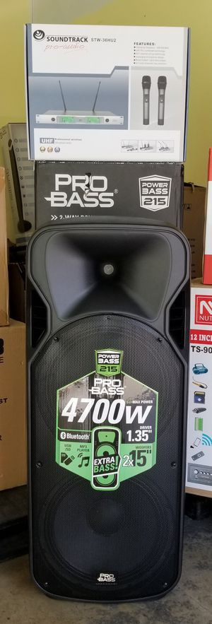 "Combo! Professional speaker with Double 15"" woofer and proffesional set of two wireless microphones. Brand New. for Sale in Virginia Gardens, FL"