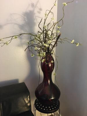 Glass Vase and faux flowers for Sale in Austin, TX