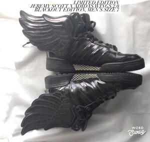 Limited Edition Jeremy Scott x Adidas Wings 2.0 Blackout, Size 7 for Sale in Bloomington, IL