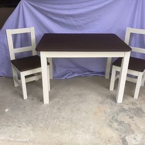 Large Kid's Farmhouse Style Table and Chairs (2) in Tan and Dark Brown- refurbished for Sale in Buford, GA