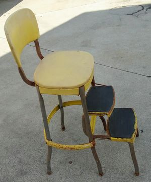 Yellow Antique kitchen stool / step stool for Sale in Bellflower, CA