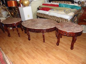 3 pink marble tables for Sale in Las Vegas, NV