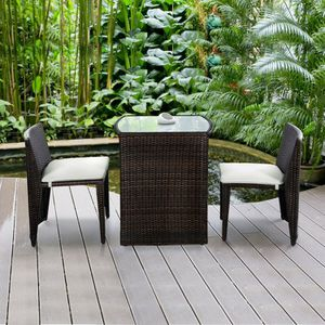 3 pc Patio Table & Chairs Wicker Furniture Outdoor Rattan Garden Backyard Set Cushioned Seats Set by the Swimming Pool for Sale in Newport Coast, CA