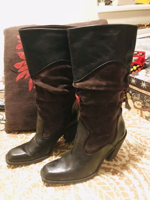 Antonio Melani Brown Suede & Leather Womens Boots 10 M for Sale in Salt Lake City, UT