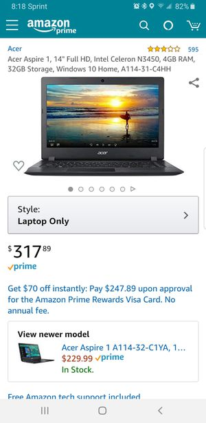Acer laptop with webcam. Used to do college work and practically brand new. Had for 1 year and just bought a new computer desktop for Sale in Houston, TX