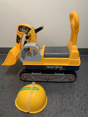 Brand new in box angry birds kids ride-on car manual push toy construction truck with helmet for Sale in Whittier, CA