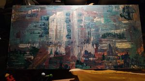 Canvas cityscape (it is interpretive I my wife thinks it looks like a mountain or State Park) for Sale in Raleigh, NC