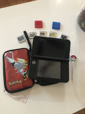 Nintendo 3DS XL black with 5 games Pokemon case charger and pen for Sale in Las Vegas, NV