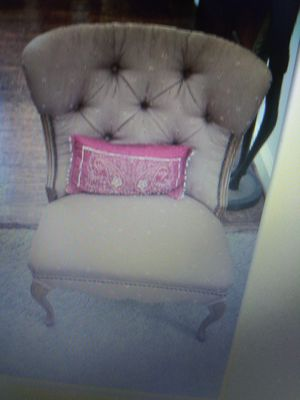 2 antique low boy chairs professionally upholstered taupe and burgundy accents for Sale in Garland, TX
