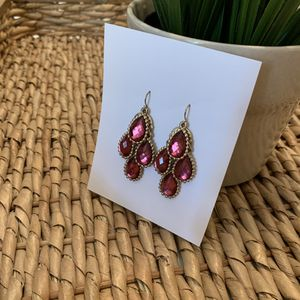 Pink and Gold Dangling Gemstone Earrings for Sale in Ponte Vedra Beach, FL